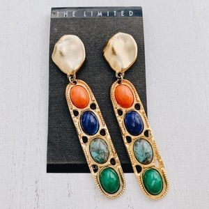 Vintage CLIP ON Multi-Color and Gold Earrings.